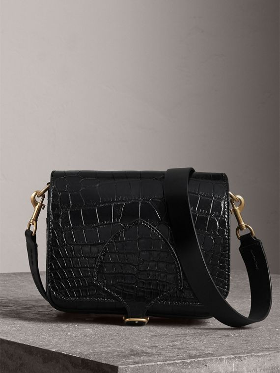The Square Satchel in Alligator in Black