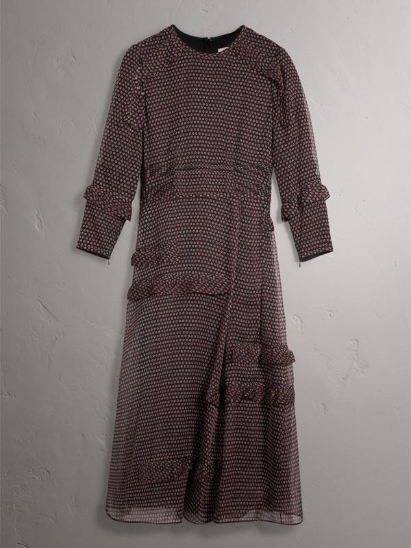 Abito in seta a maniche lunghe con stampa a pois e dettagli arricciati (Rosso Parata) - Donna | Burberry - cell image 3