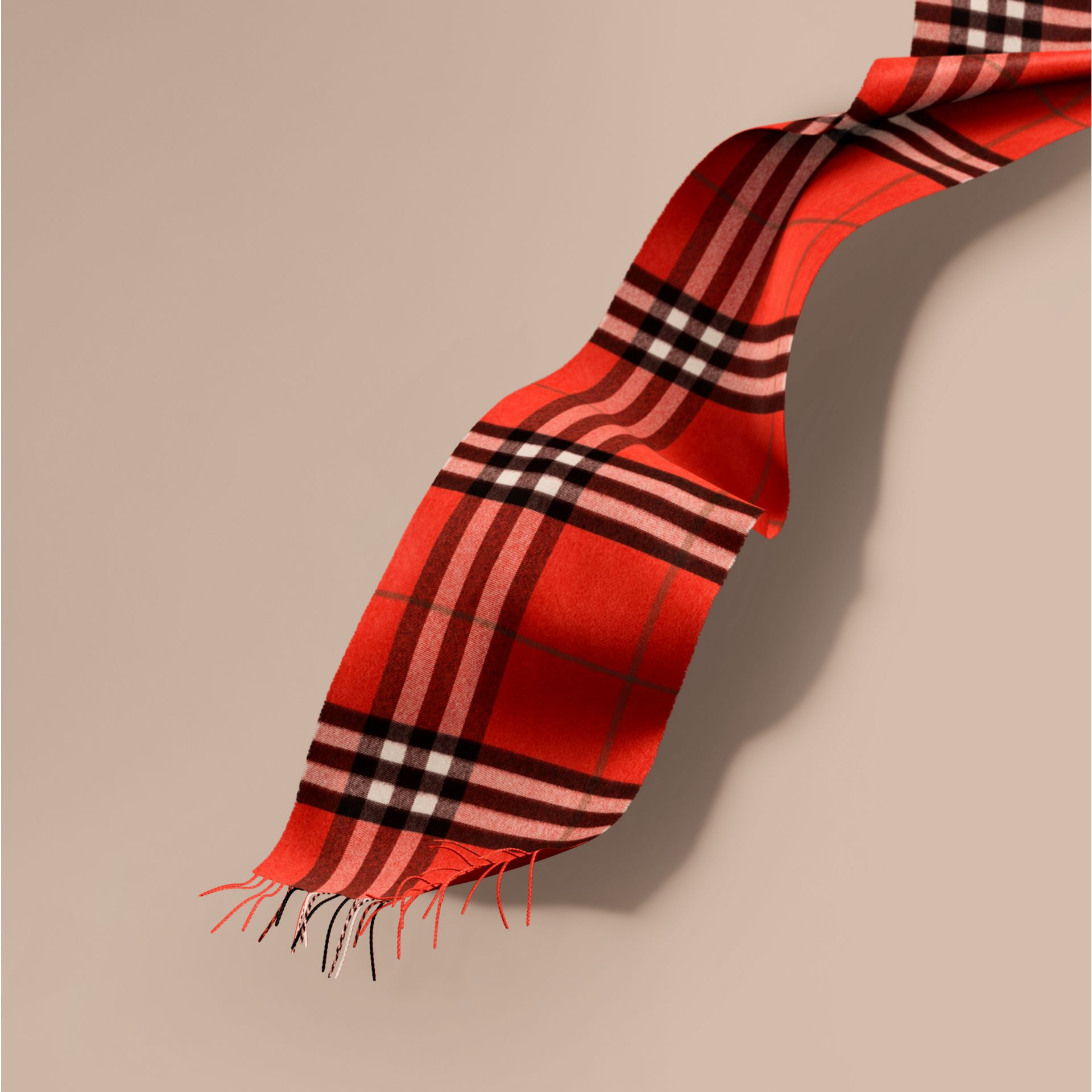 The Classic Check Cashmere Scarf in Bright Orange Red | Burberry - gallery image 1