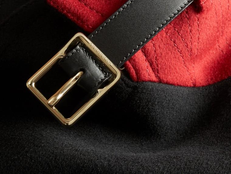 Nero Pea coat in lana e cashmere con collo amovibile in pelliccia - cell image 1