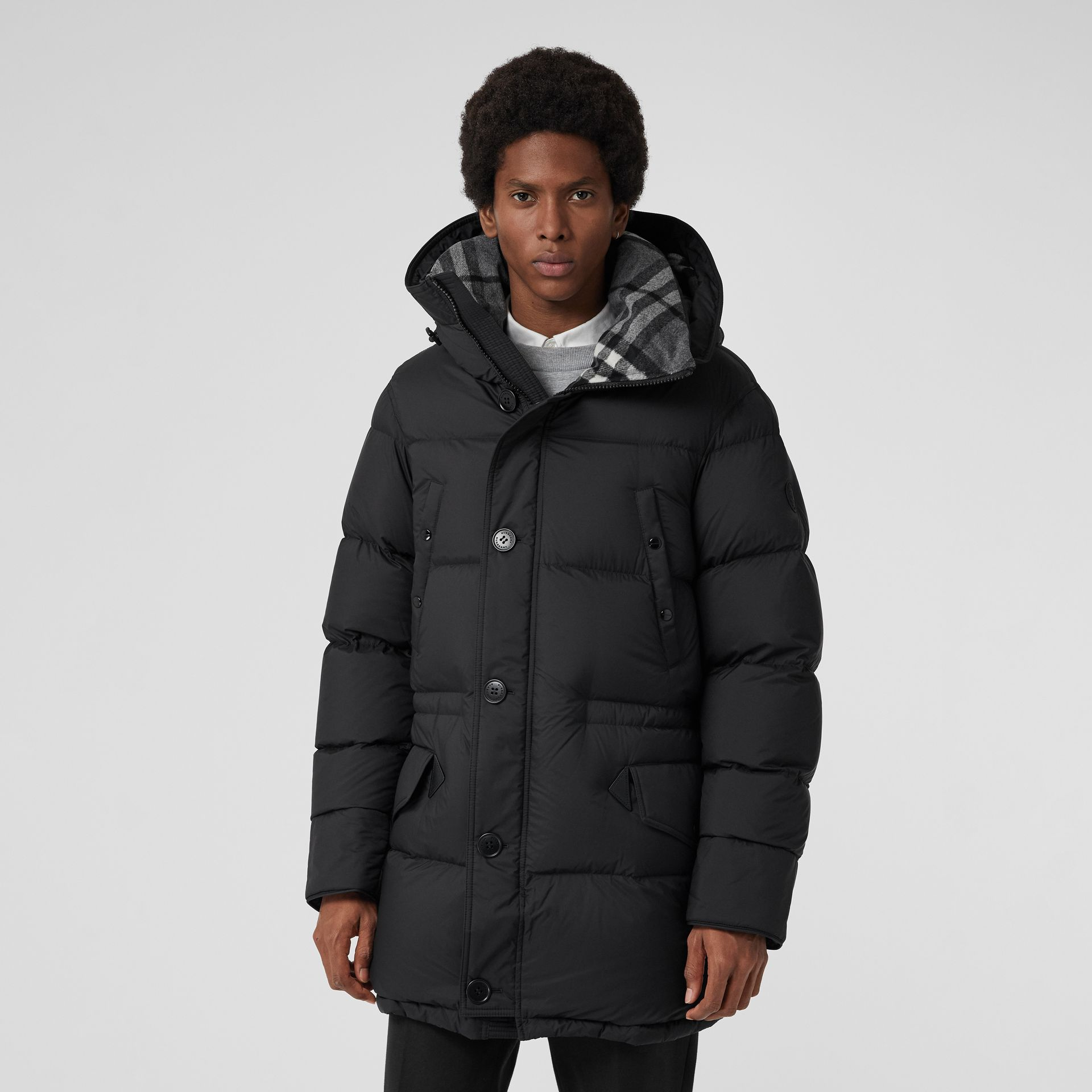 Check Detail Down-filled Hooded Puffer Coat in Black - Men | Burberry - gallery image 6