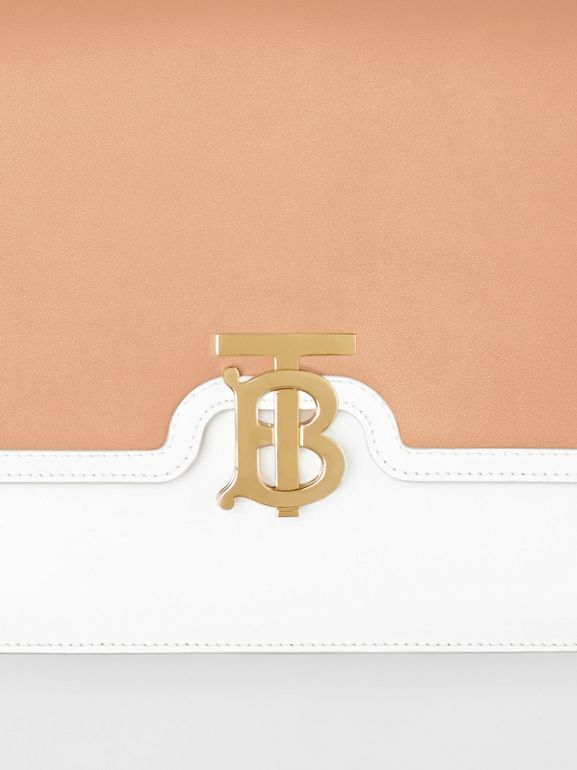 Medium Two-tone Leather TB Bag in Chalk White/light Camel - Women | Burberry - cell image 1