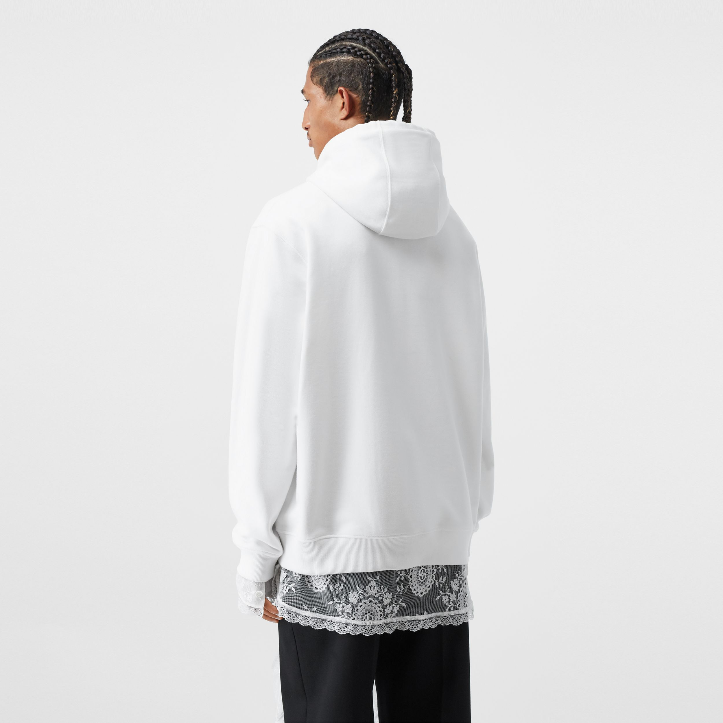 Cut-out Sleeve Globe Graphic Cotton Hoodie in Optic White - Men | Burberry - 3