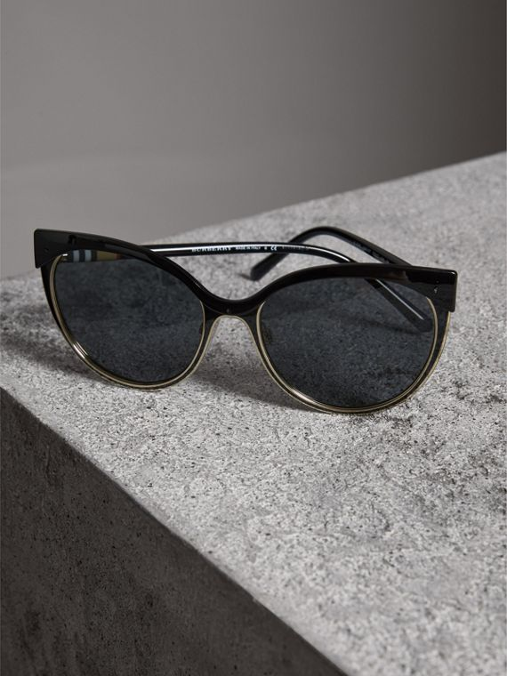 Cat-eye Frame Sunglasses in Black - Women | Burberry United States - cell image 2