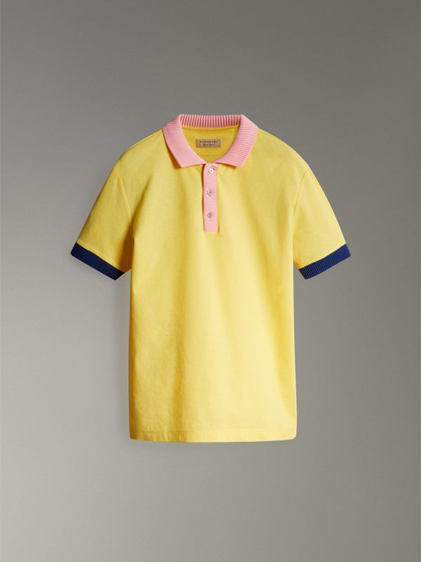 Two-tone Stripe Knitted Detail Cotton Polo Shirt in Saffron Yellow - Men | Burberry - cell image 3