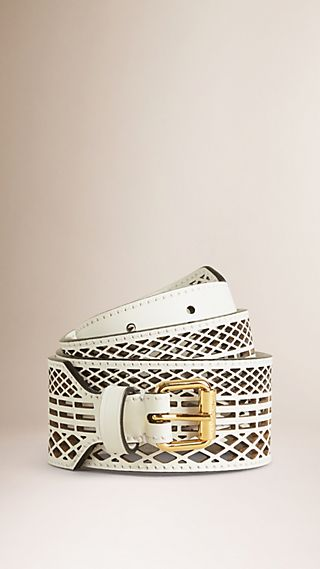 Cut-out Leather Belt White