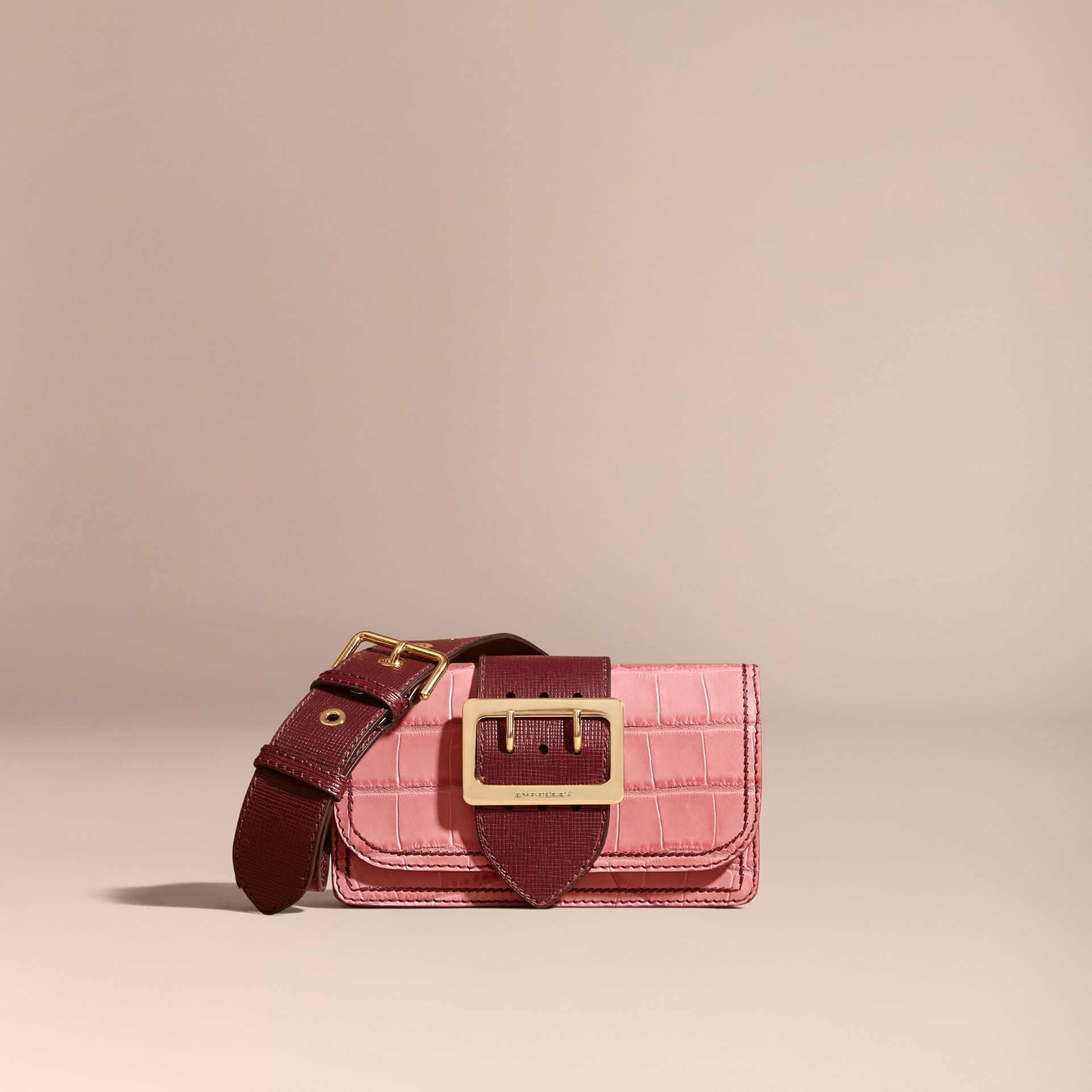 Dusky pink/ burgundy The Small Buckle Bag in Alligator and Leather Dusky Pink/ Burgundy - gallery image 9