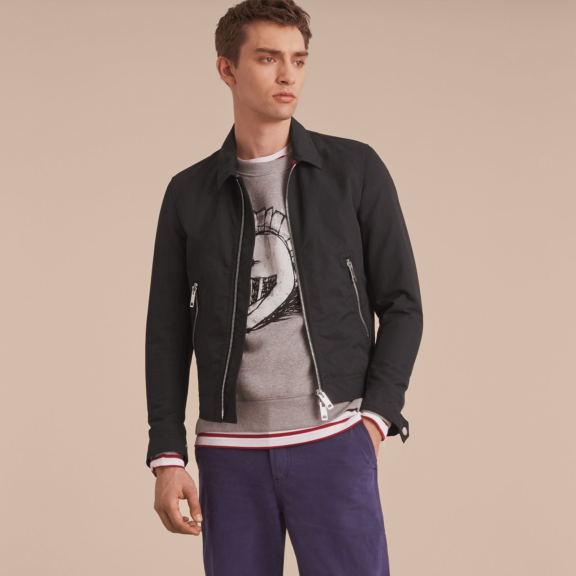 Cotton Blend Cropped Jacket in Black - Men | Burberry - gallery image 7