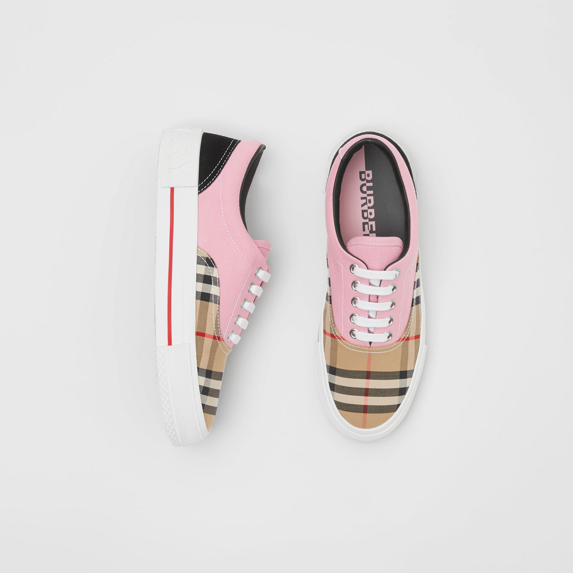Vintage Check, Cotton Canvas and Suede Sneakers in Archive Beige/pink - Women | Burberry - gallery image 0