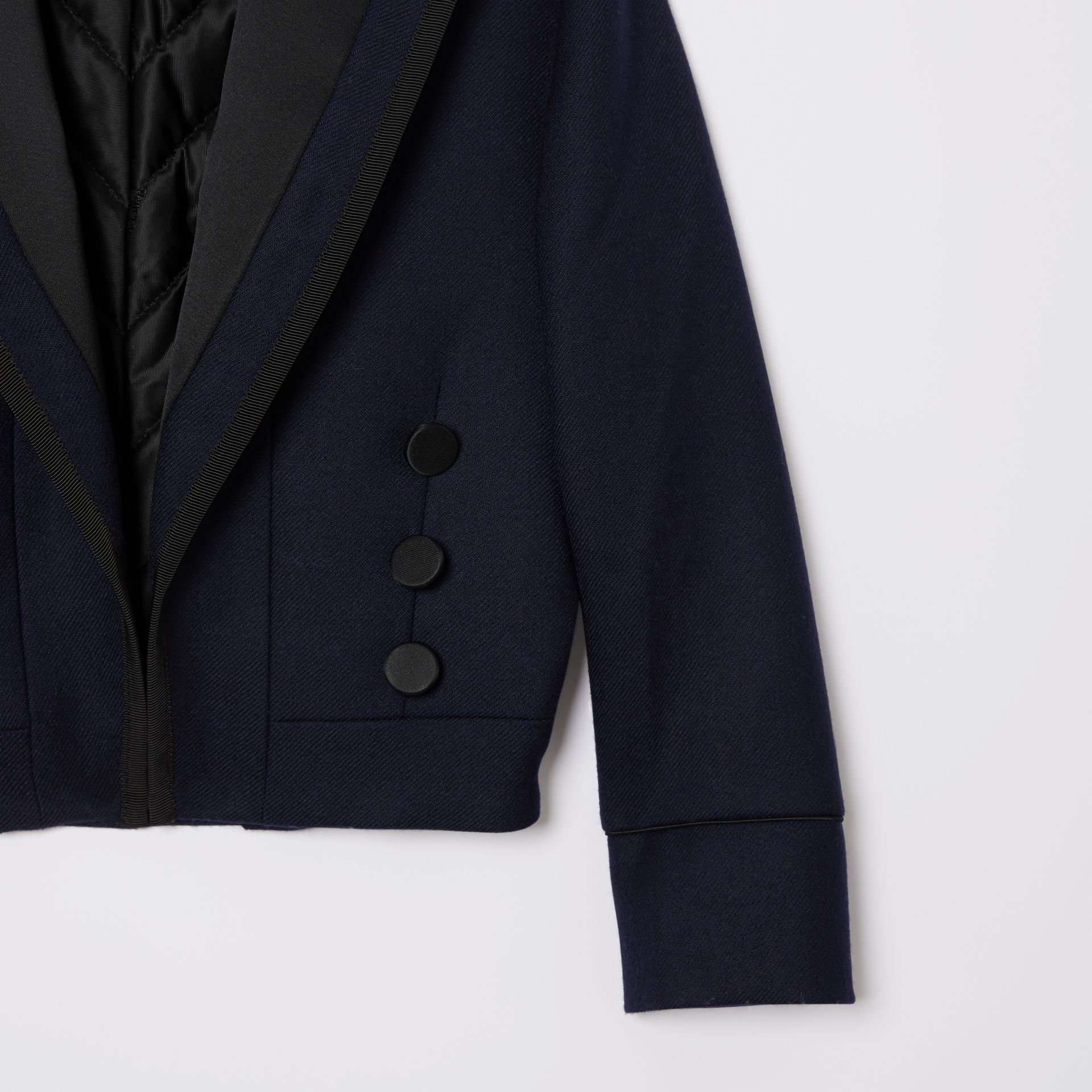 Satin Trim Wool Twill Tailored Jacket in Navy | Burberry - gallery image 4
