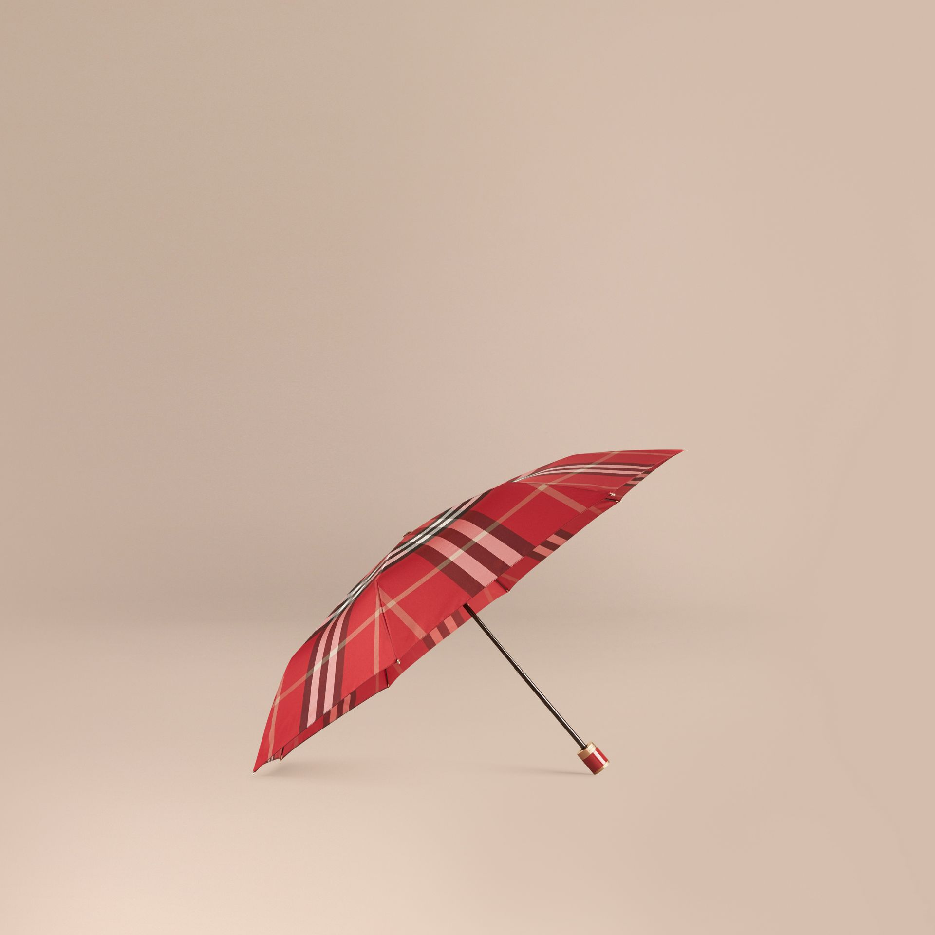 Check Folding Umbrella in Parade Red | Burberry - gallery image 1