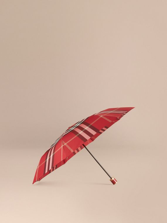 Check Folding Umbrella in Parade Red | Burberry Canada