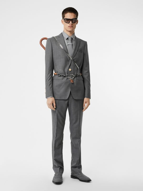 Monogram Button Cotton Shirt in Light Grey | Burberry - cell image 3