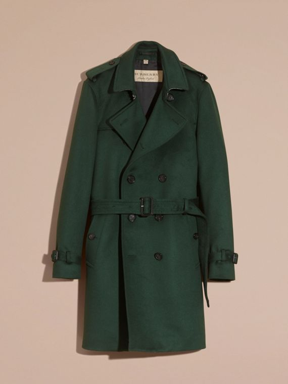 Verde militare scuro Trench coat in cashmere Verde Militare Scuro - cell image 2