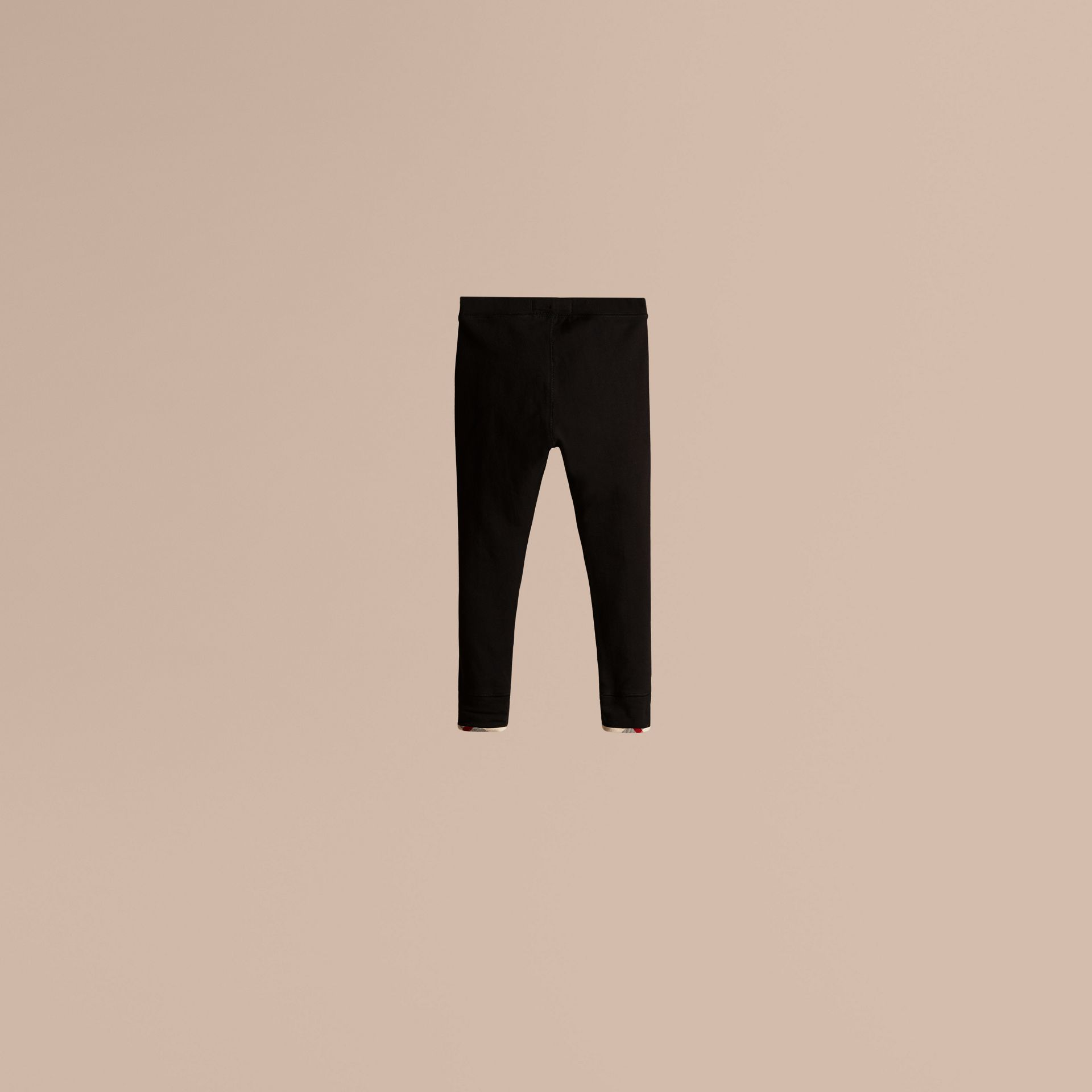 Stretch Cotton Leggings in Black - Girl | Burberry - gallery image 2