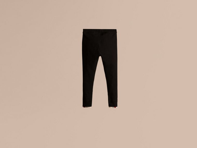 Stretch Cotton Leggings in Black - Girl | Burberry - cell image 1