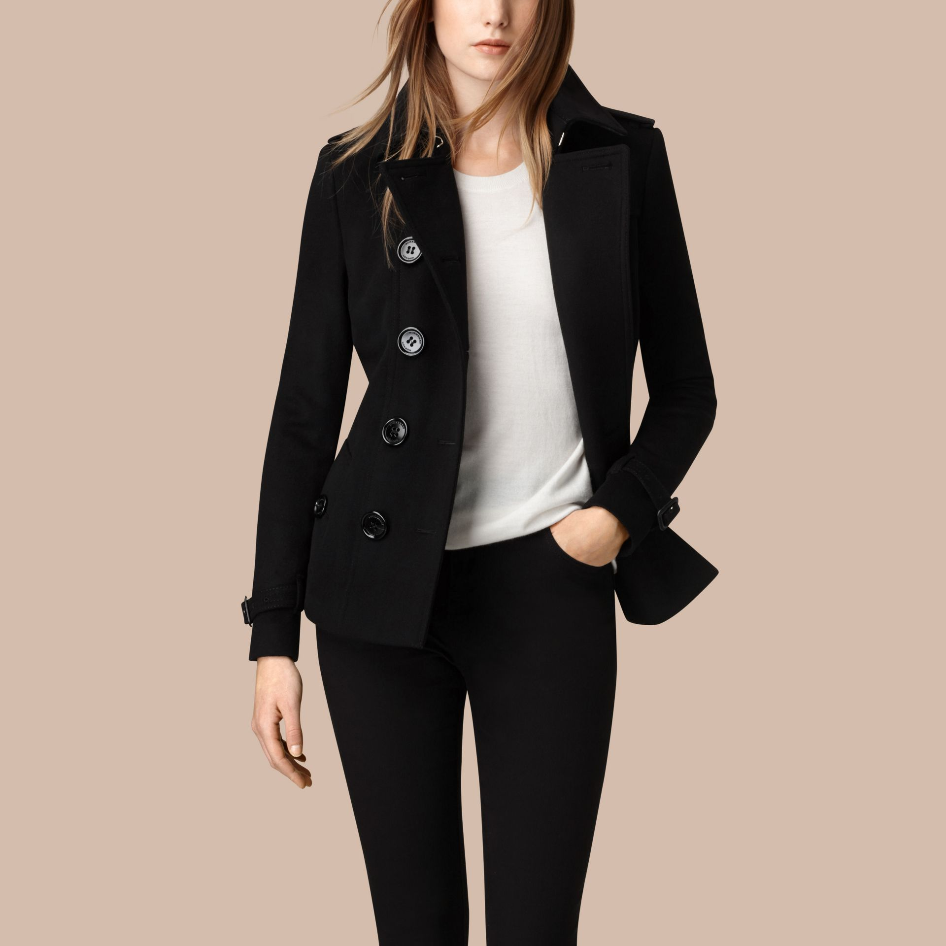Black Wool Cashmere Trench Jacket - gallery image 3