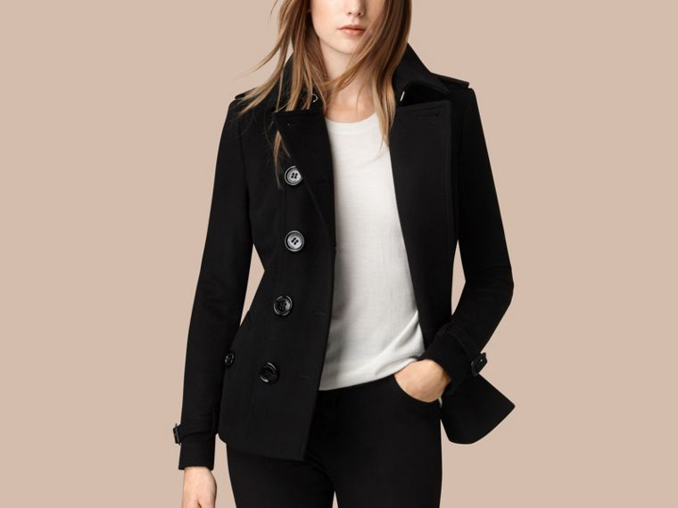 Black Wool Cashmere Trench Jacket - cell image 2