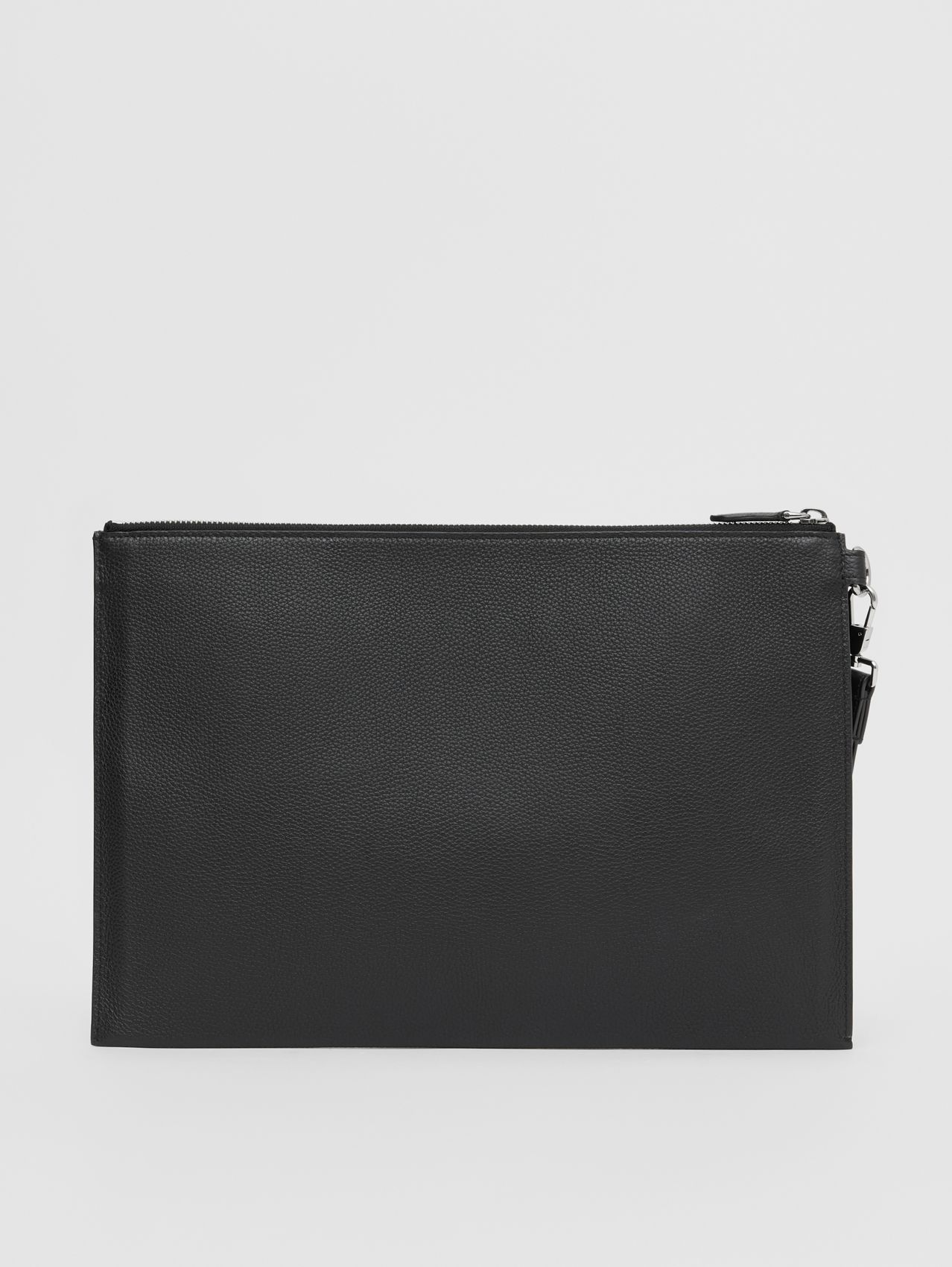 Large Monogram Motif Grainy Leather Zip Pouch in Black