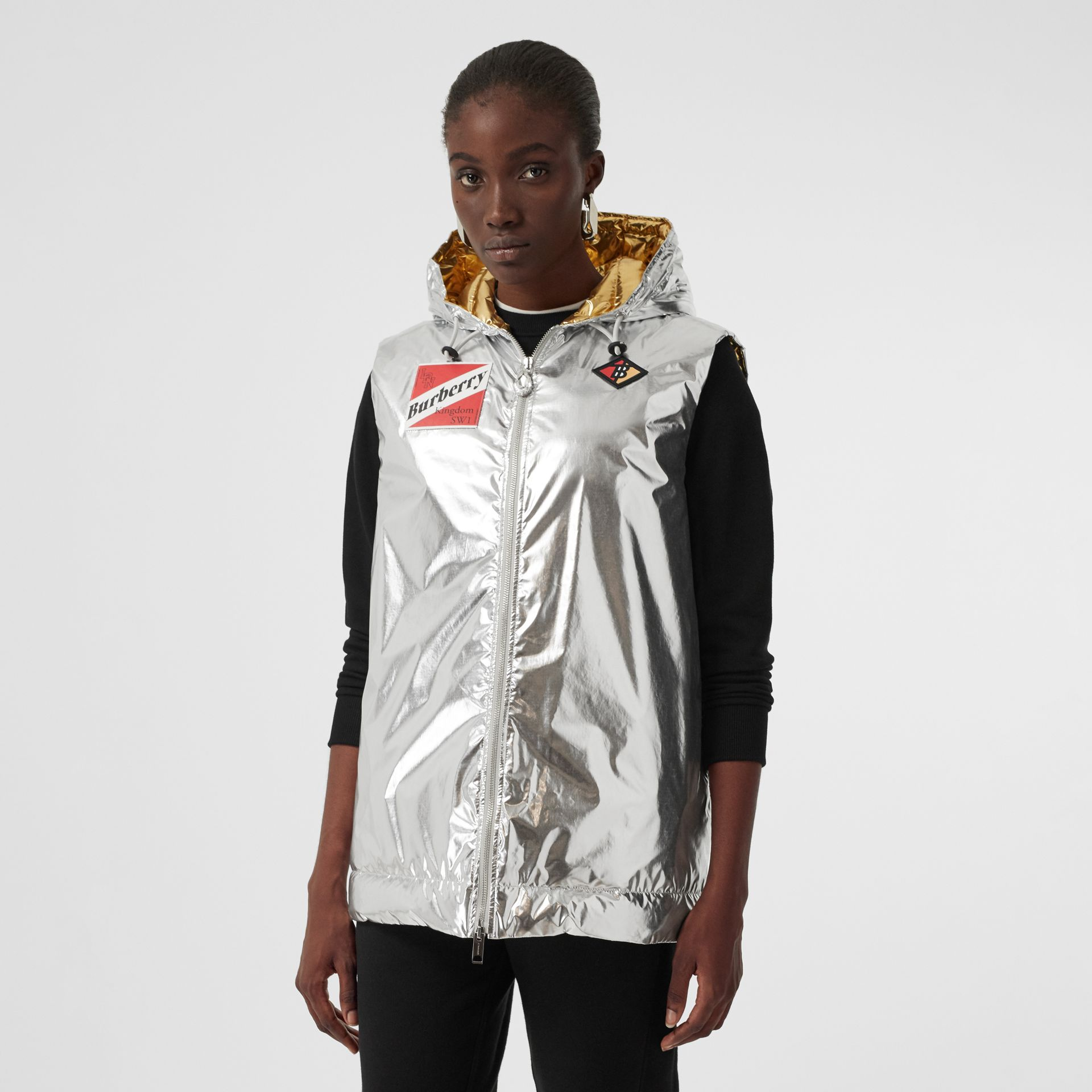 Logo Graphic Metallic Down-filled Gilet in Silver - Women | Burberry - gallery image 4