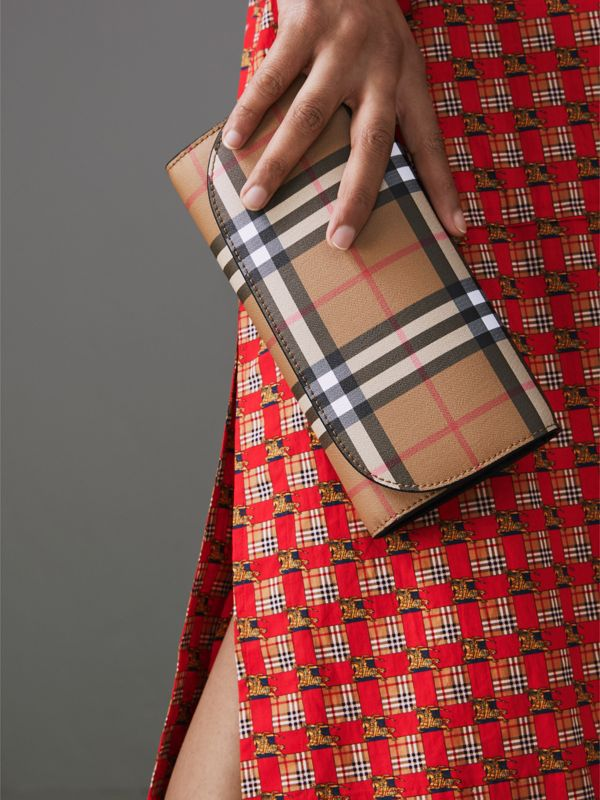 Detachable Strap Vintage Check Leather Wallet in Black - Women | Burberry United Kingdom - cell image 3