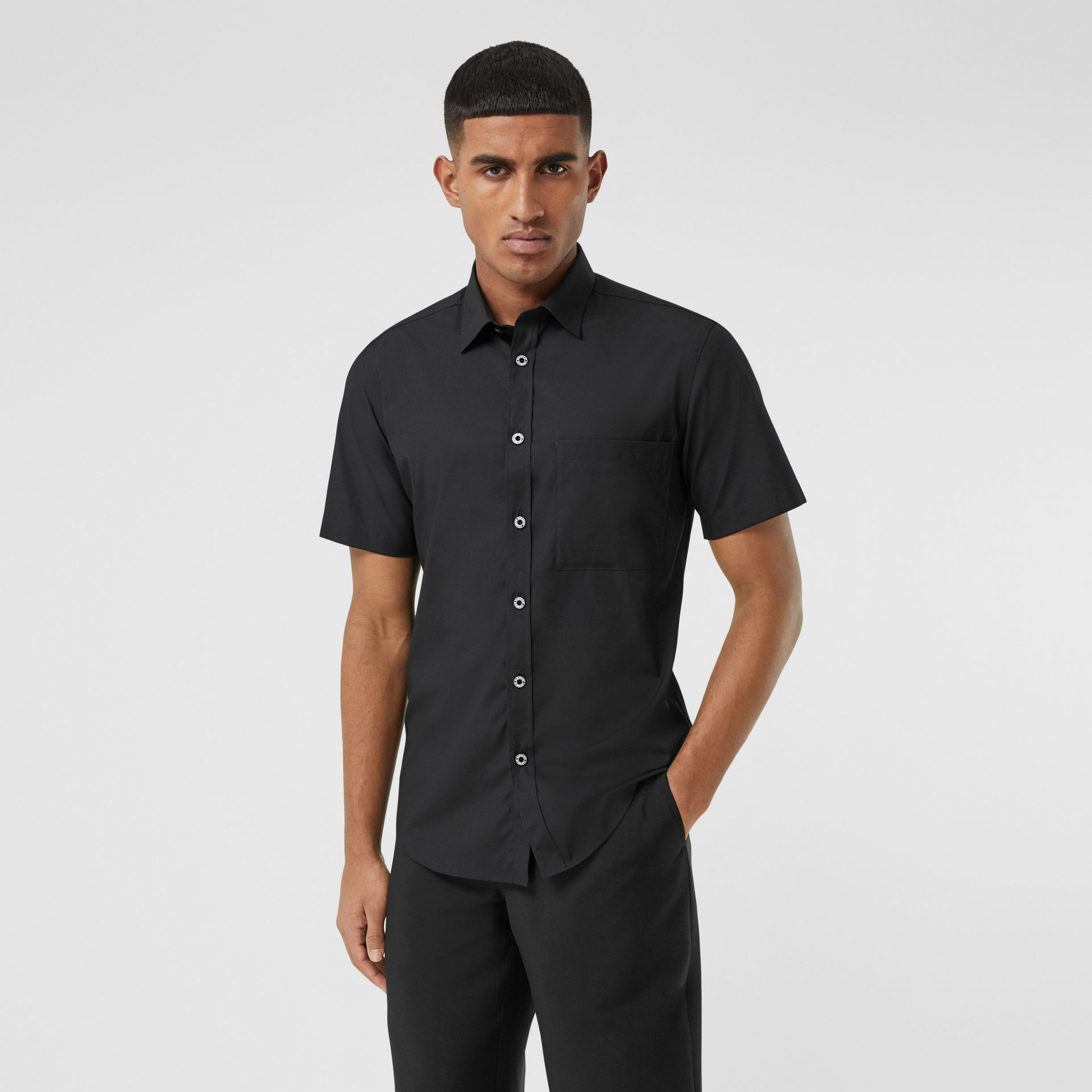 Short-sleeve Slim Fit Stretch Cotton Poplin Shirt in Black - Men | Burberry - gallery image 0