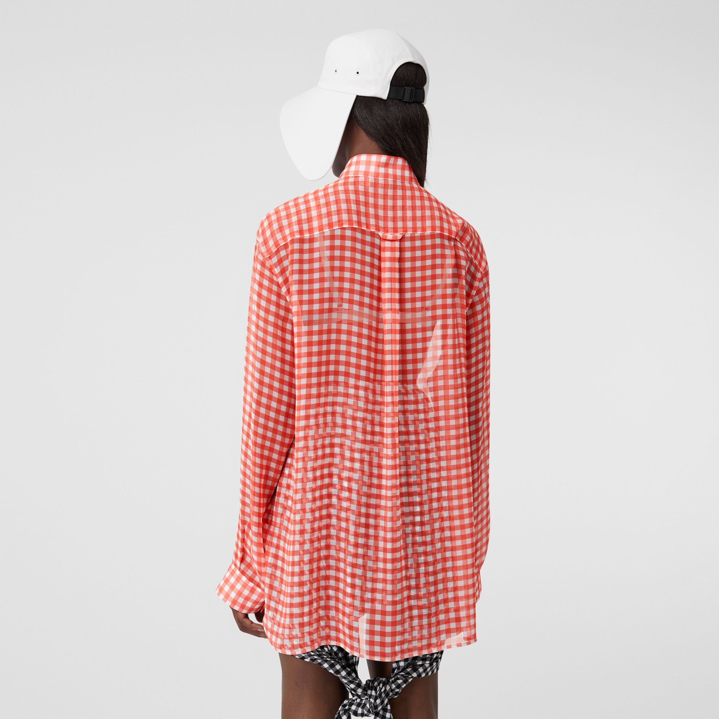 Gingham Silk Chiffon Pussy-bow Blouse in Red - Women | Burberry - 3