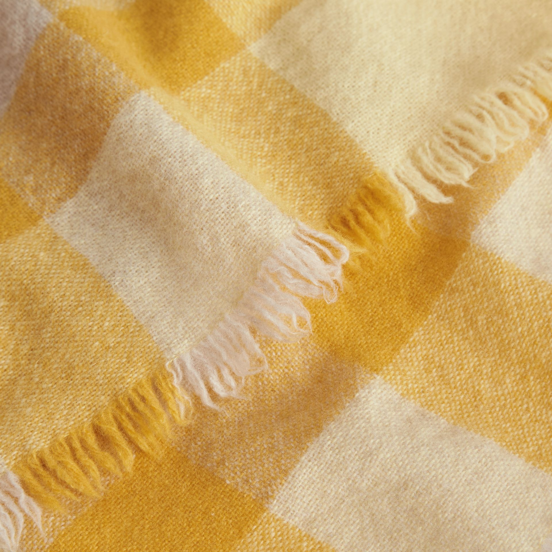 Lightweight Check Wool and Cashmere Scarf in Pale Primrose - Children | Burberry Canada - gallery image 1