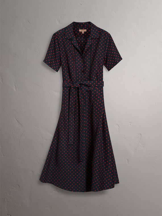 Polka-dot Silk Tea Dress in Parade Red - Women | Burberry - cell image 3
