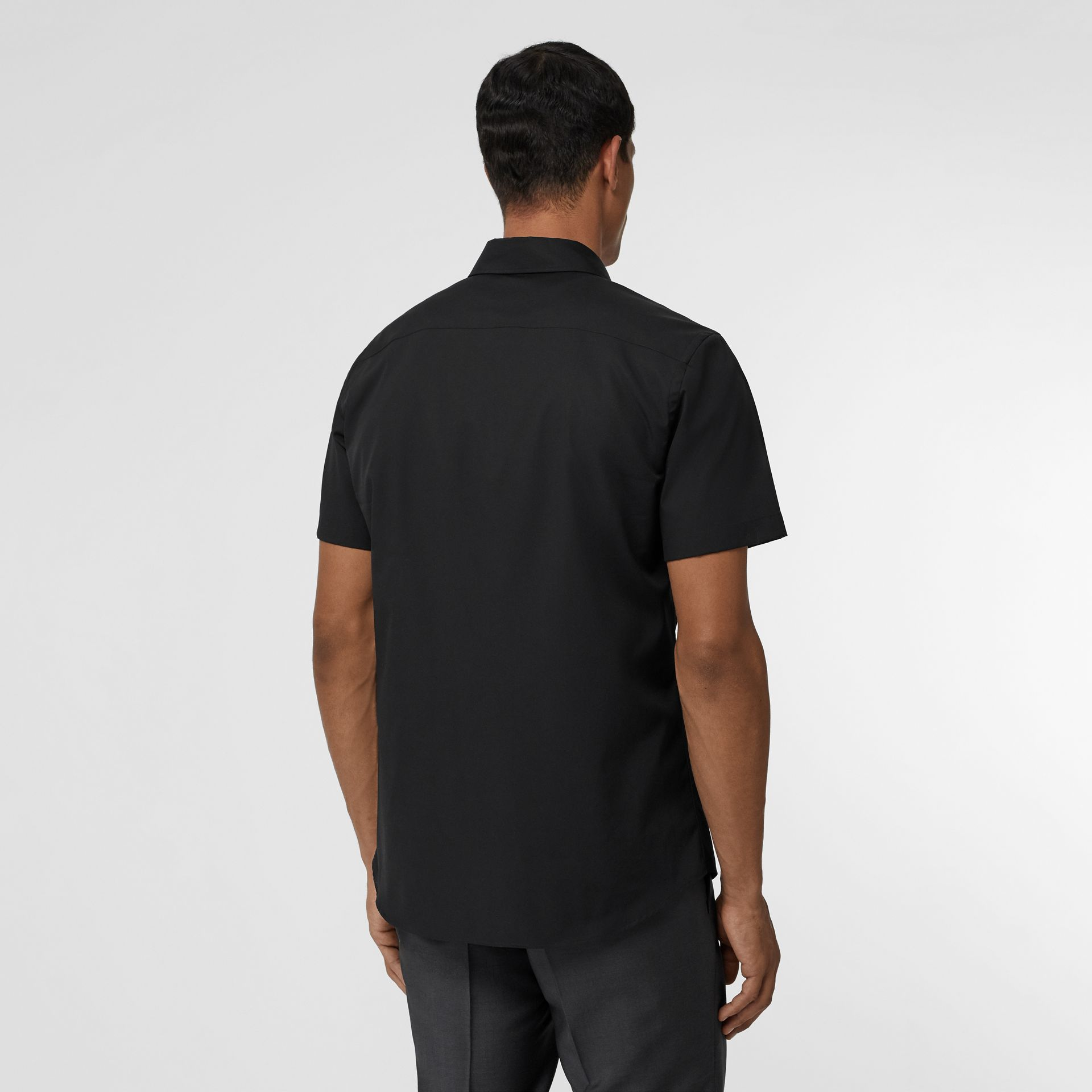 Short-sleeve Monogram Motif Stretch Cotton Shirt in Black - Men | Burberry Singapore - gallery image 2