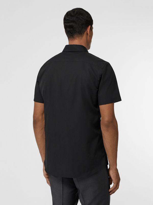 Short-sleeve Monogram Motif Stretch Cotton Shirt in Black - Men | Burberry Canada - cell image 2