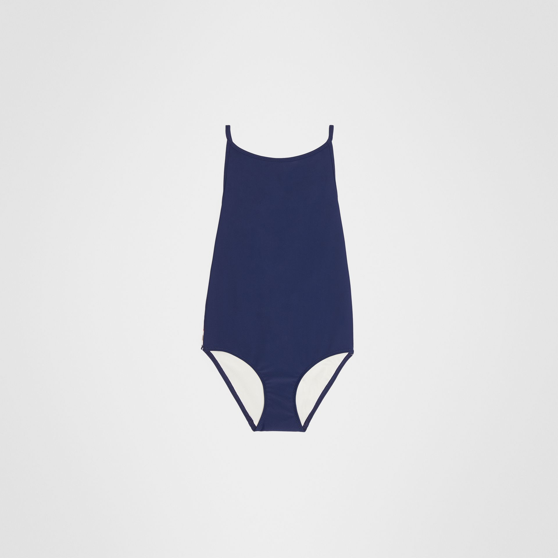 Check Detail One-piece Swimsuit in Navy - Girl | Burberry United Kingdom - gallery image 0
