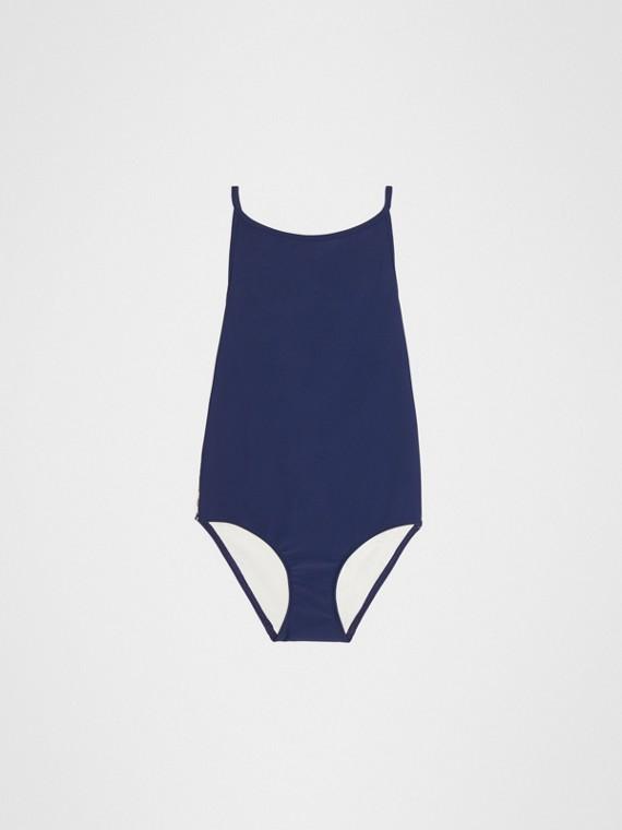 格紋細節設計一件式泳裝 (海軍藍)