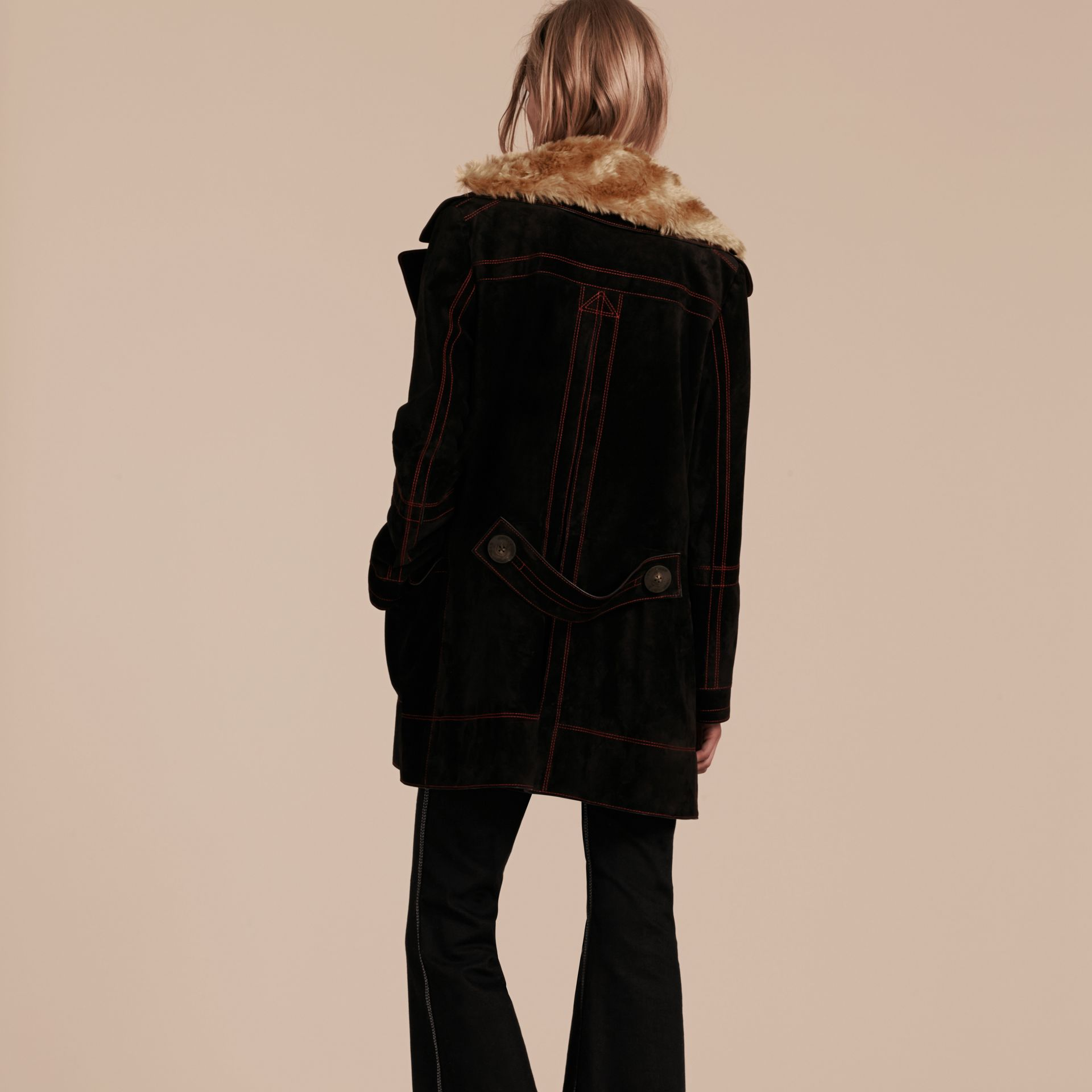 Black Suede Pea Coat with Shearling Topcollar - gallery image 3