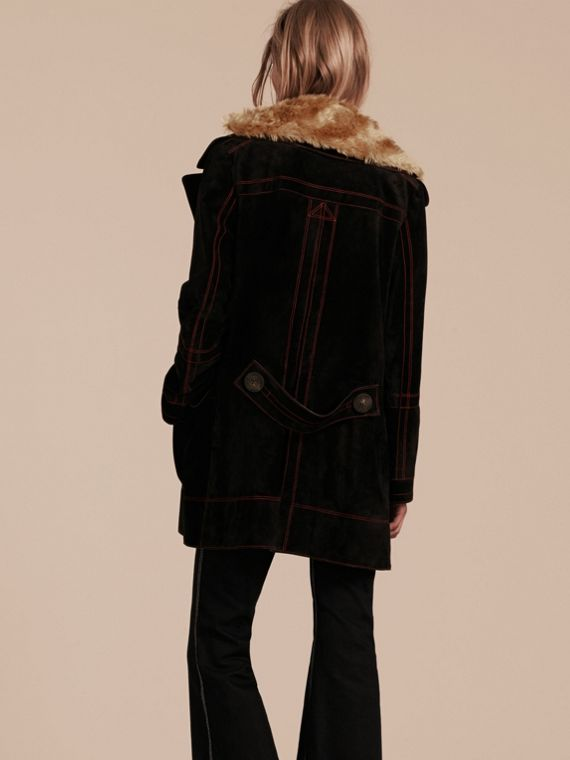 Black Suede Pea Coat with Shearling Topcollar - cell image 2