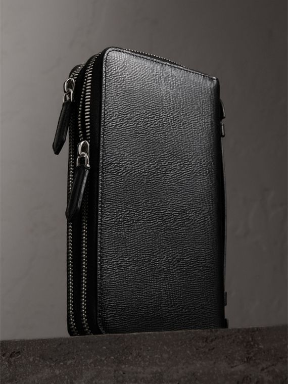 London Leather Travel Wallet in Black - Men | Burberry Canada - cell image 2