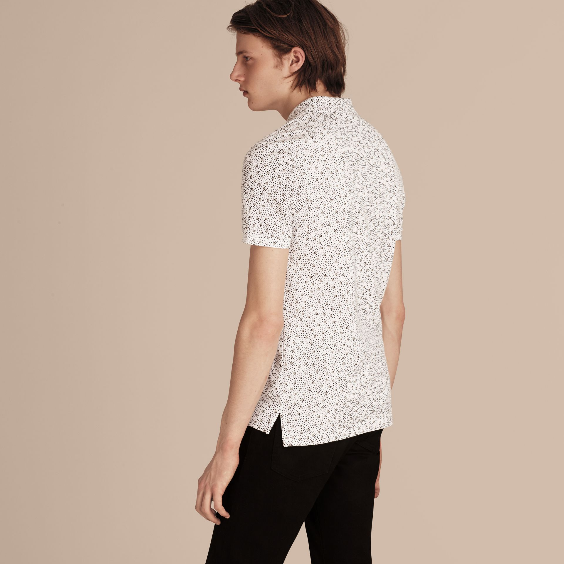 White Painterly Spot Print Cotton Polo Shirt White - gallery image 3