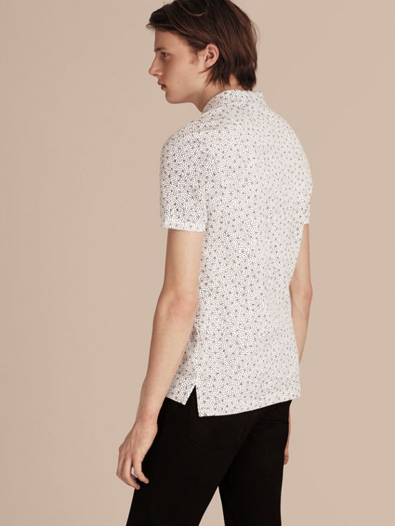 White Painterly Spot Print Cotton Polo Shirt White - cell image 2