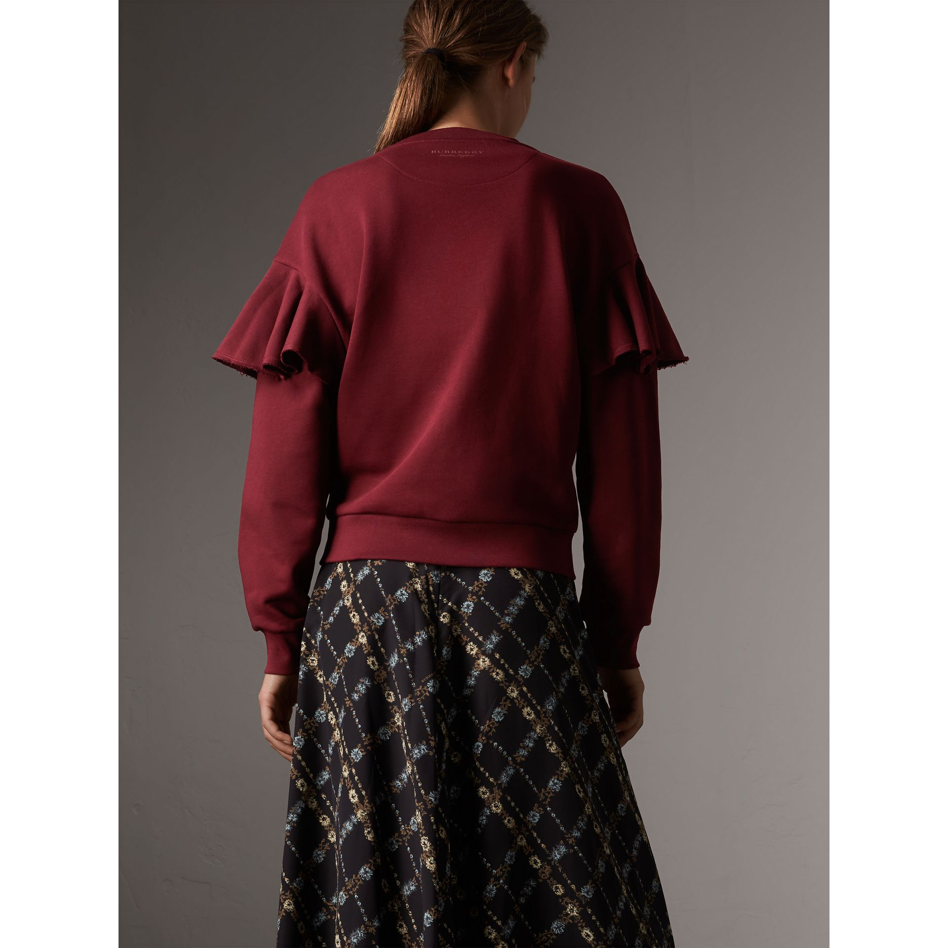 Ruffle Detail Cotton Jersey Sweatshirt in Dark Plum - Women | Burberry - gallery image 3