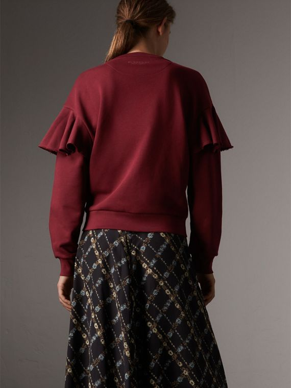 Ruffle Detail Cotton Jersey Sweatshirt in Dark Plum - Women | Burberry - cell image 2