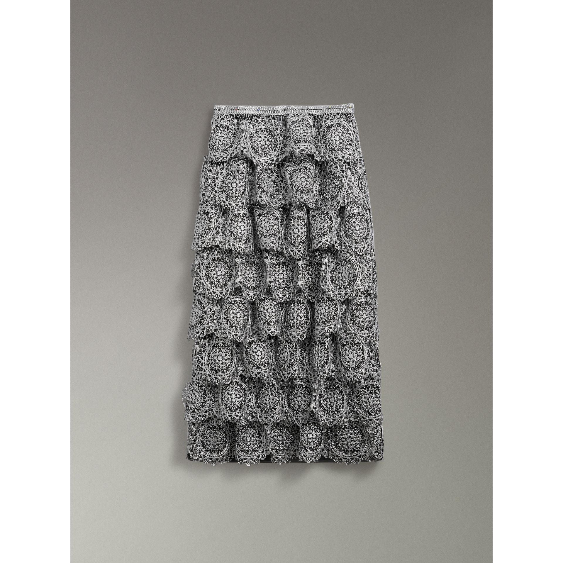 Tiered Silicone Lace Skirt in Silver - Women | Burberry - gallery image 3
