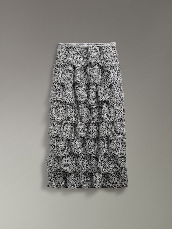 Tiered Silicone Lace Skirt in Silver - Women | Burberry - cell image 3