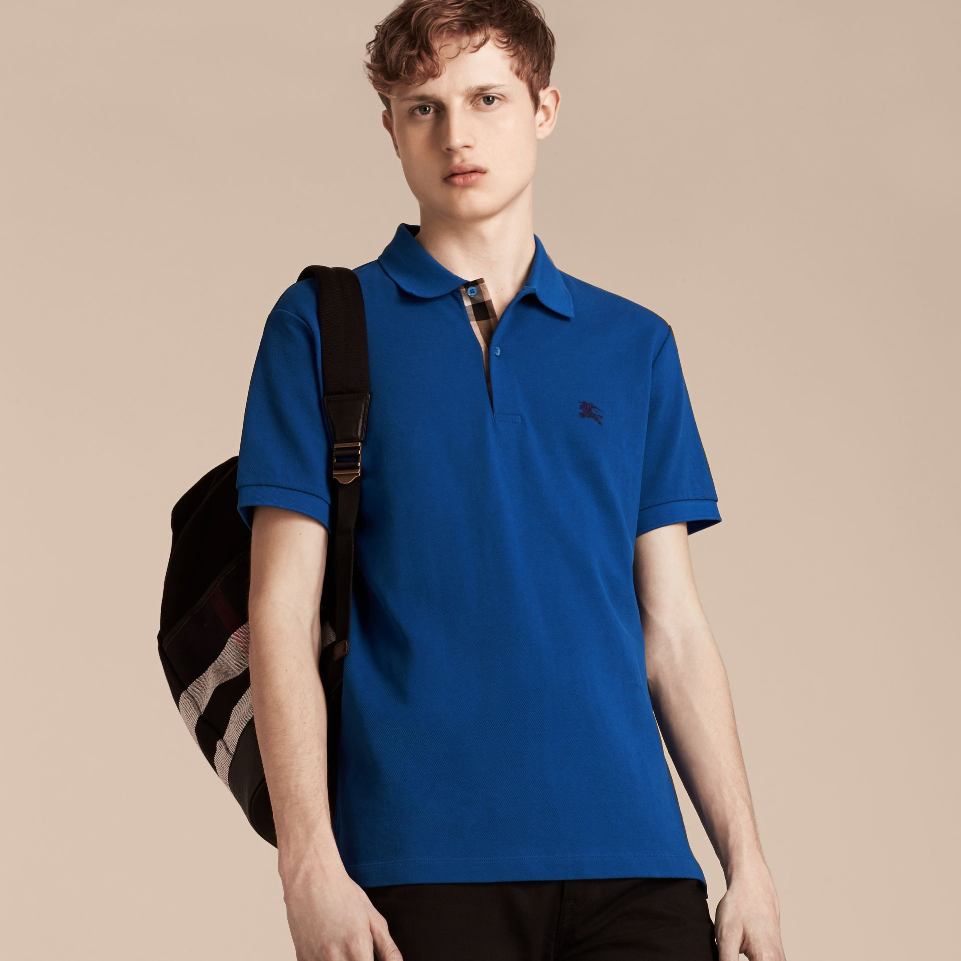 Cobalt blue Check Placket Cotton Piqué Polo Shirt Cobalt Blue - gallery image 4
