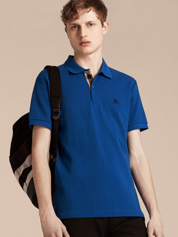 Cobalt blue Check Placket Cotton Piqué Polo Shirt Cobalt Blue - cell image 3