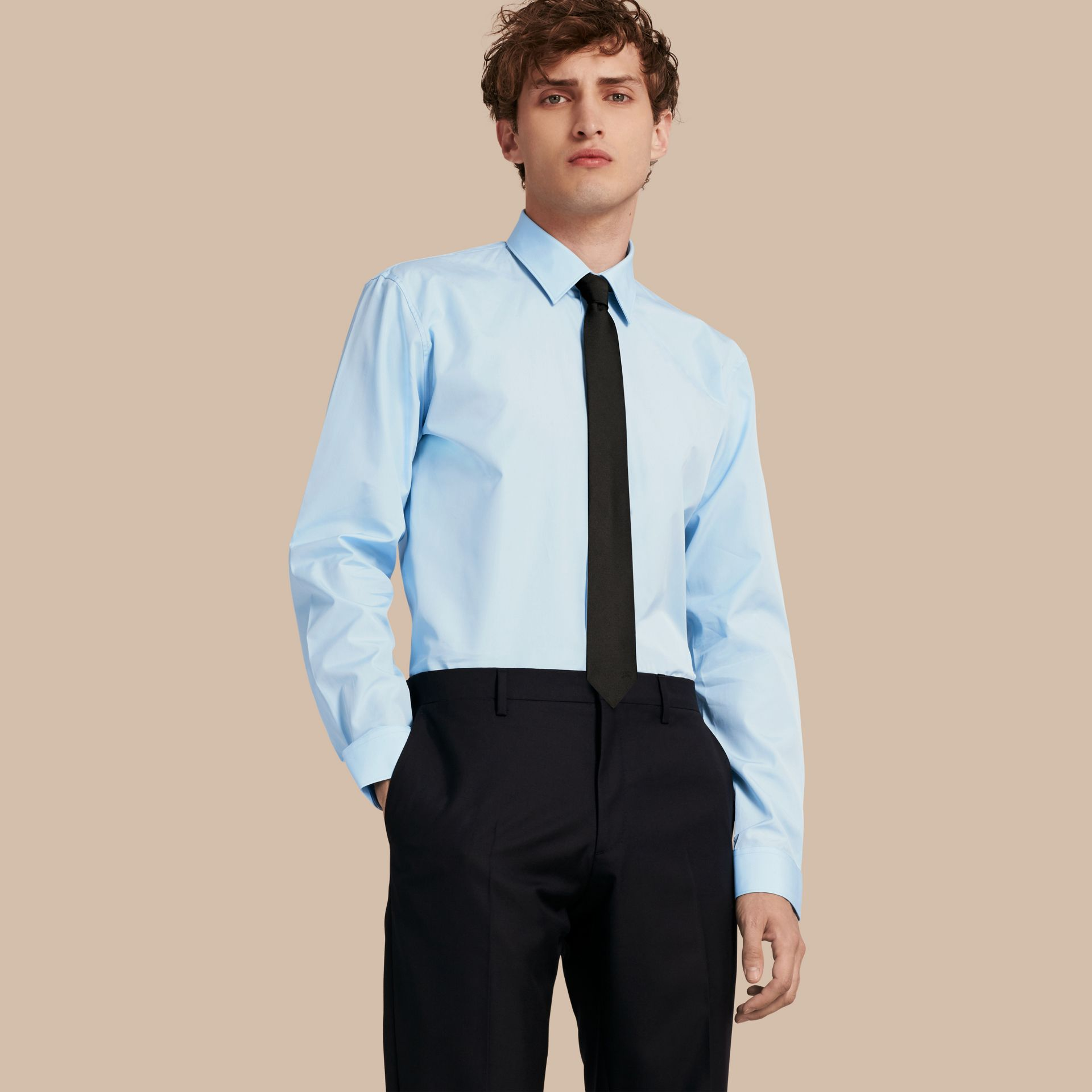Modern Fit Cotton Poplin Shirt in City Blue - Men | Burberry - gallery image 1