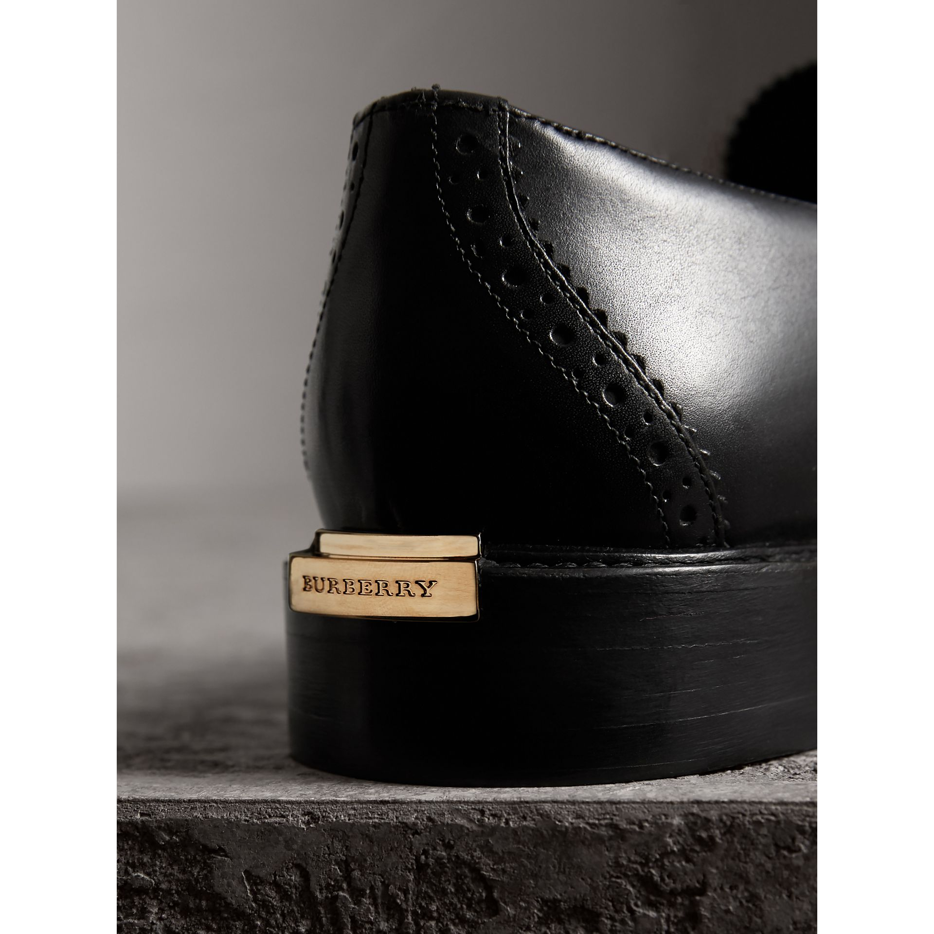 Leather Tassel Loafers in Black - Women | Burberry - gallery image 2