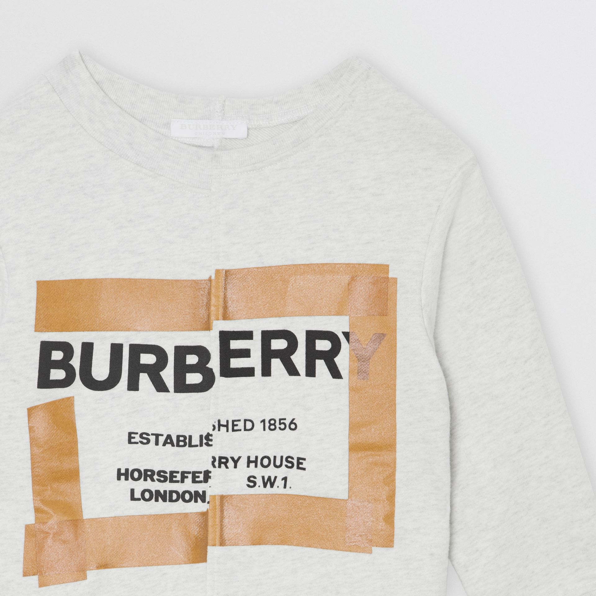 Horseferry Print Cotton Sweatshirt in White Melange | Burberry - gallery image 4