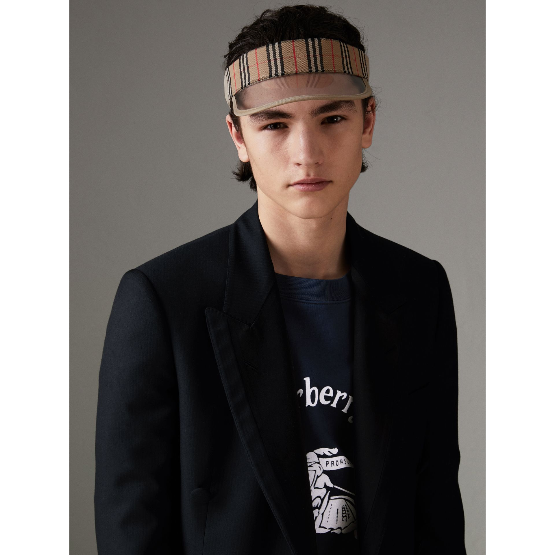 1983 Check Visor in Dark Sand | Burberry Canada - gallery image 3