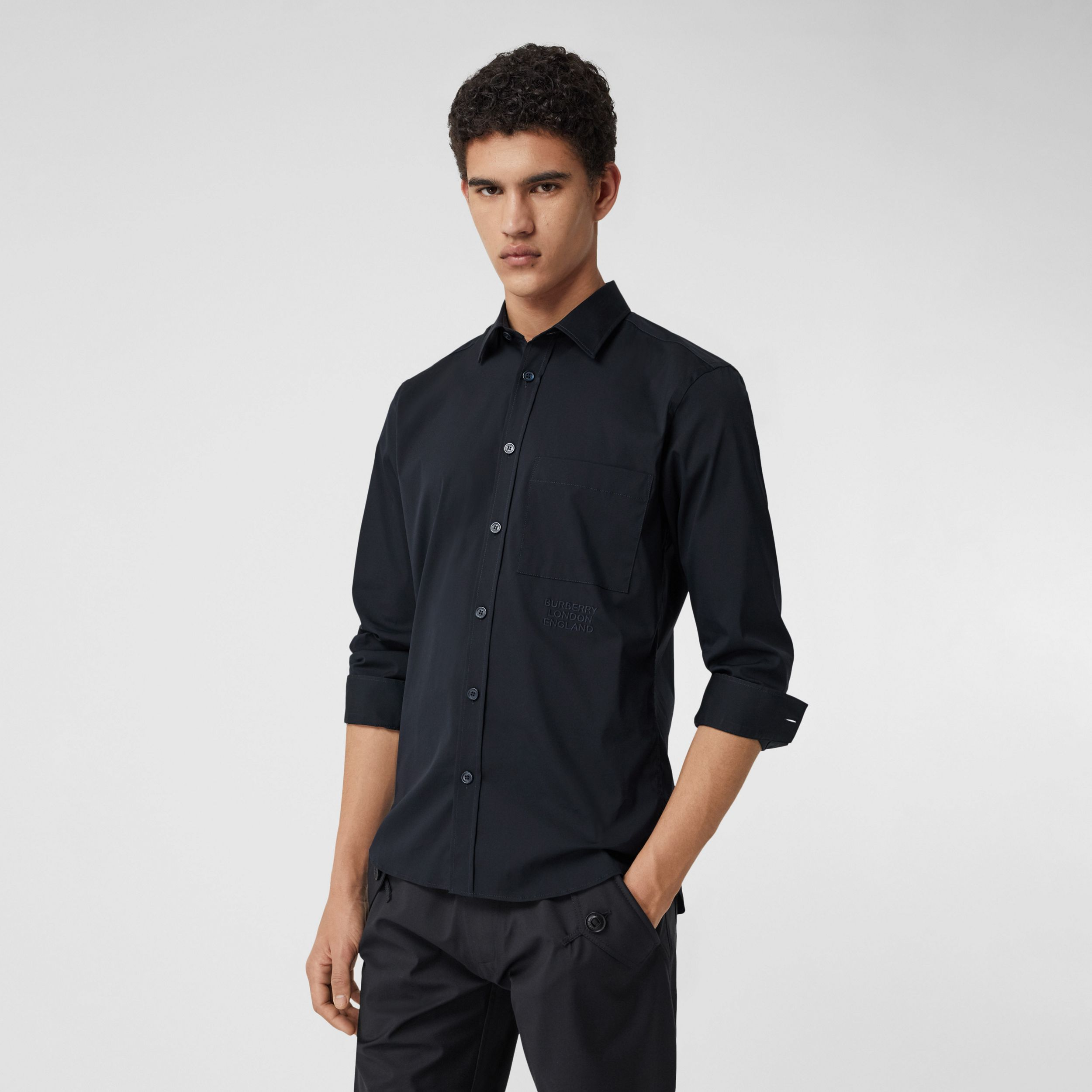 Embroidered Logo Cotton Blend Shirt in Navy - Men | Burberry Hong Kong S.A.R. - 1