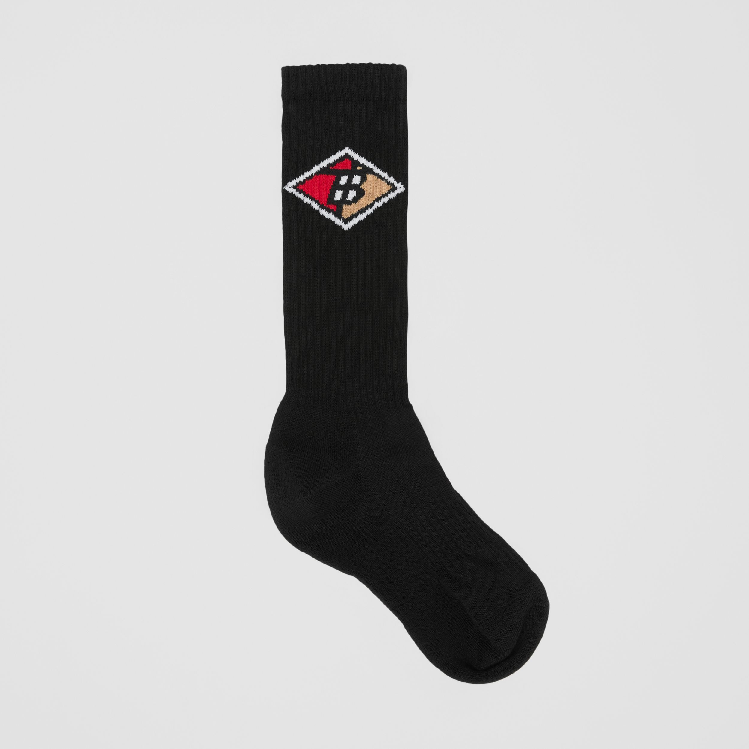 Logo Graphic Intarsia Cotton Blend Socks in Black | Burberry - 1
